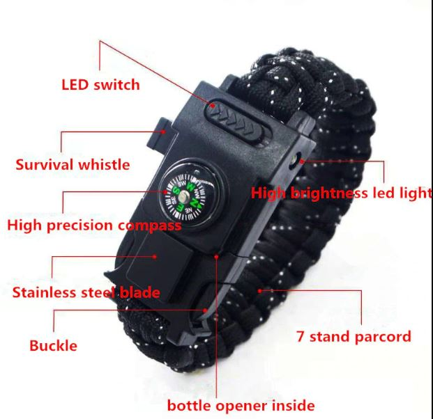 Outdoor First Aid Kits Survival paracord 4mm bracelet LED light multi-function bracelet outdoor emergency camping hiking