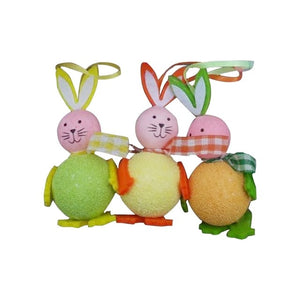 New 3 Pcs Easter Eggs Cute Bunny Rabbit Chick Hanging Toy Kids Home Party Decor Gifts