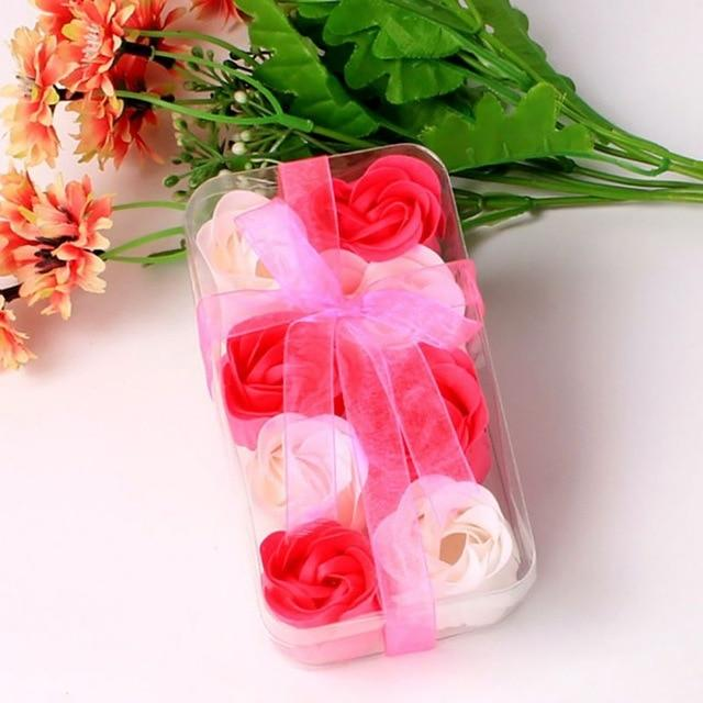 8pcs/Box Creative Artificial Rose Flower Scented Soap Bath Body Petal Perfumed Soaps with Iron Box Valentine Day Gift Fake Plant