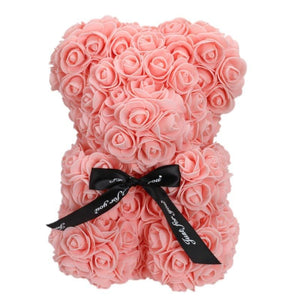 25 cm Soap Foam Bear of Roses Teddy Bear Rose Flower Artificial for girlfriend Christmas day Valentines Day Gifts Dropship=