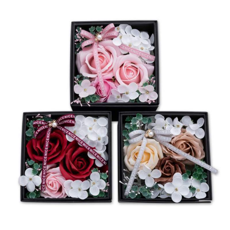 Artificial Flowers Soap Rose Flower Romantic Rotatable Soap Flower WITH Gift Box For Valentine's Day Wedding Decoration