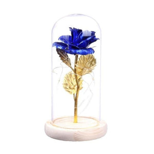 24K Gold Plating Rose Flower LED Light String Gift Gold Leaf Rose in a Glass Dome Women Girls on Birthday Valentine's Day Gifts