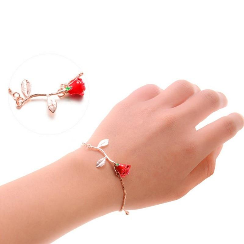 Valentine's day gift Red Rose Bracelet Temperament Simple Flower Bracelet Bangle Classic 3 Color Bracelet Jewelry Gift0