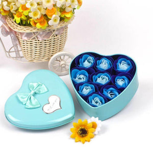 9pcs Scented Soap Rose Flowers Perfumed Iron Box Valentiners Wedding Party Decoration Gifts Bath Body Soaps