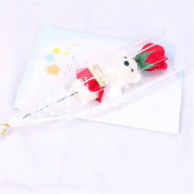10 Tyles Cheap 1pcs Romantic Valentine\'s Day Gift Bear Rose Flower Soap Cartoon Bouquet Flower For Party Wedding Decoration hot