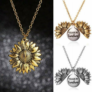 New Women Gold Necklace Custom You are my sunshine Open Locket Sunflower Pendant Necklace Valentines Gift