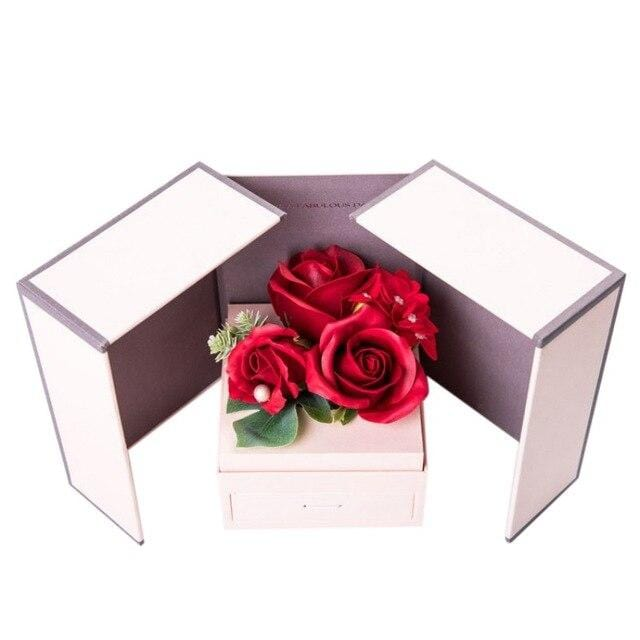 Jewelry Box Artificial Rose Flower Scented Soap Necklace Holder Birthday Gift For Girls Romantic Valentine's Day Wedding 77