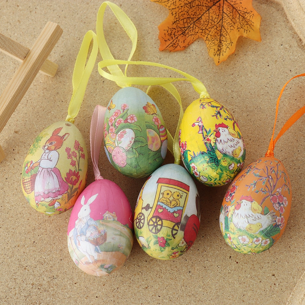 6Pcs/Set Colorful Foam Easter Eggs Gadget Birthday Holiday Decoration  Wedding Party Decoration Easter Crafts Ornaments