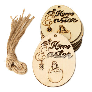25PCS/10PCS 2020 Easter Crafts Easter Decorations Egg Wooden Ornament Easter Decorations for Home Rabbit Wood Happy Easter