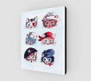 "Pirate Kitties 11"" x 14"" Canvas Print"