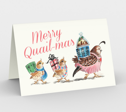Merry Quail-mas Card 3 pack
