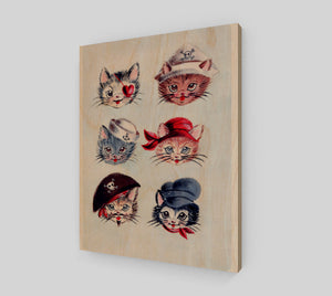 "Pirate Kitties 11"" x 14"" Wood Print"