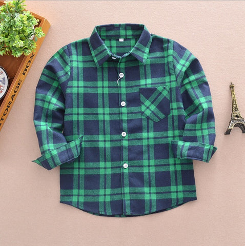 """Boys"" Plaid Button Up Shirt"