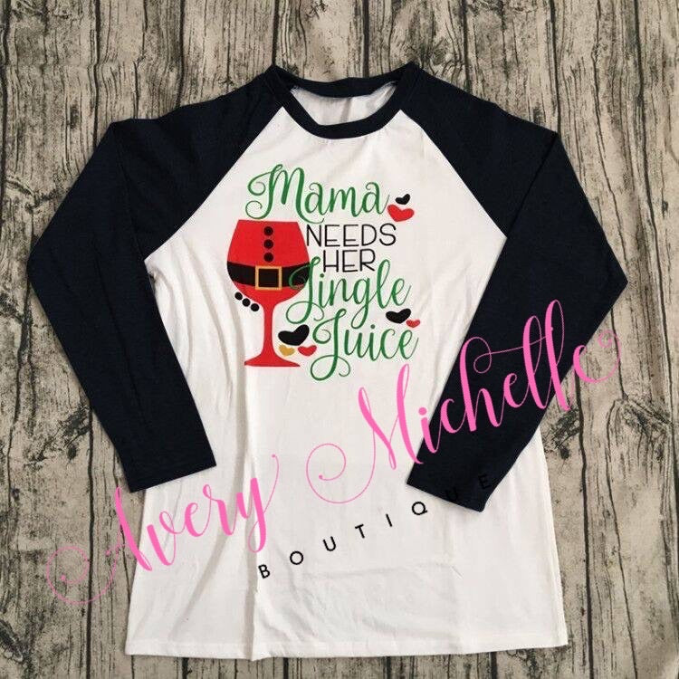 Ladies Mama Needs Her Jingle Juice Raglan