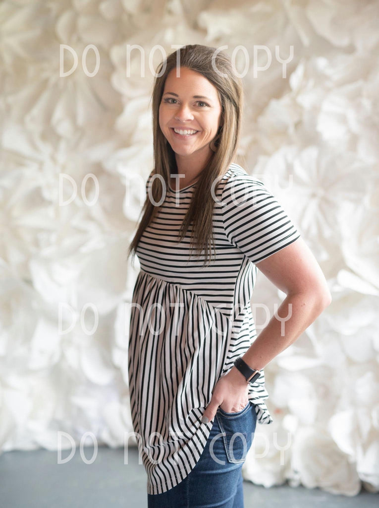 White/Black Striped Baby Doll Tunic