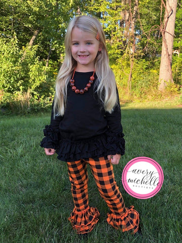 Black/Orange Plaid Truffle Leggings