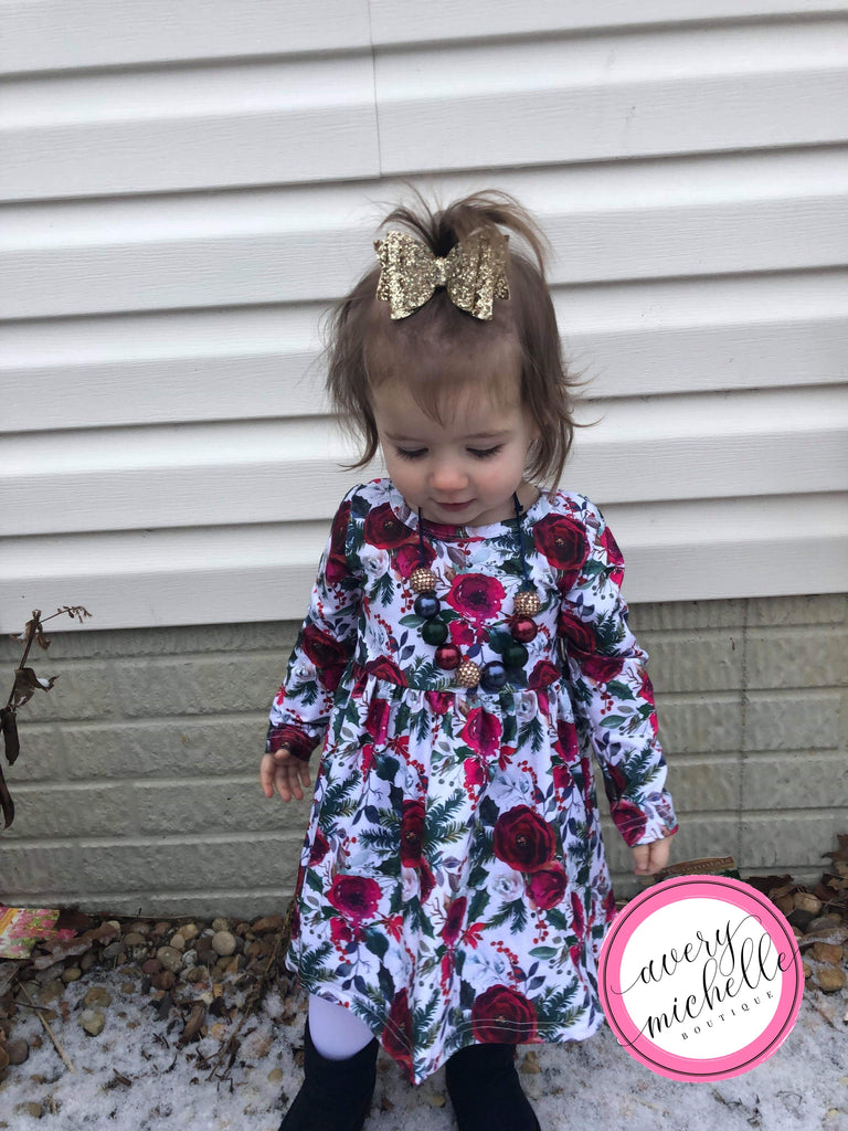 Winter Floral Twirl Dress