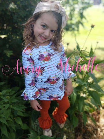 Ruffle Sleeve Top - Striped Floral (10T, 12T)