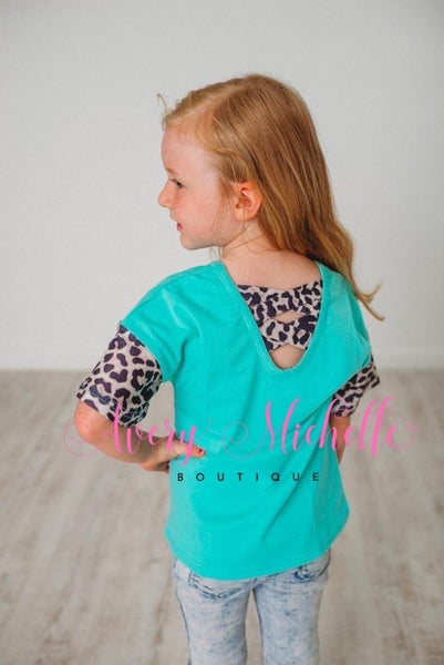 Mom & Me Leopard Sleeve Tops - Black