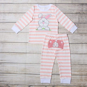 Pink Embroidered Bunny Loungewear