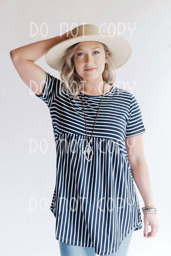 Navy/White Striped Baby Doll Tunic