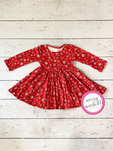 Red Snowflake Big Twirl Dress