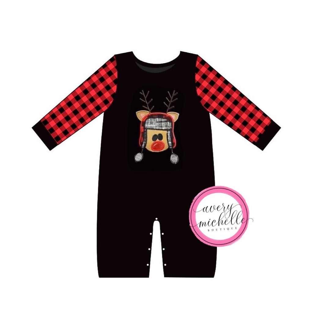 Embroidered Reindeer Boy Romper
