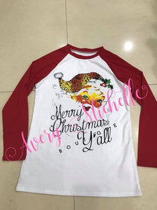 Ladies Merry Christmas Y'all Raglan