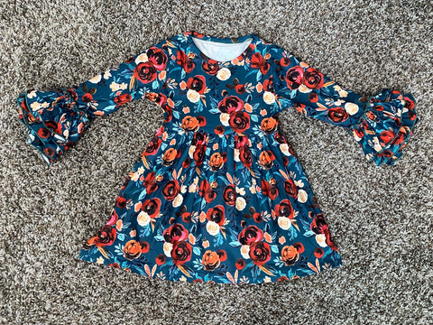 Dark Floral Truffle Sleeve Dress (4T, 5T)