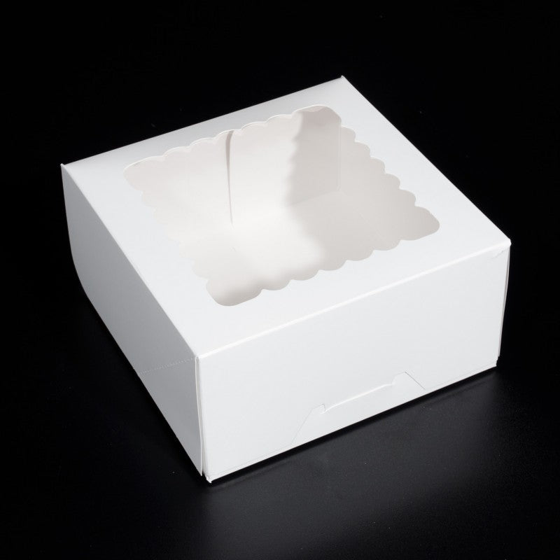 8.25 X 8.25 X 4 - Cupcake Box / Cake Box / Pie Box / Cookie Box - With Window (10 PACK)