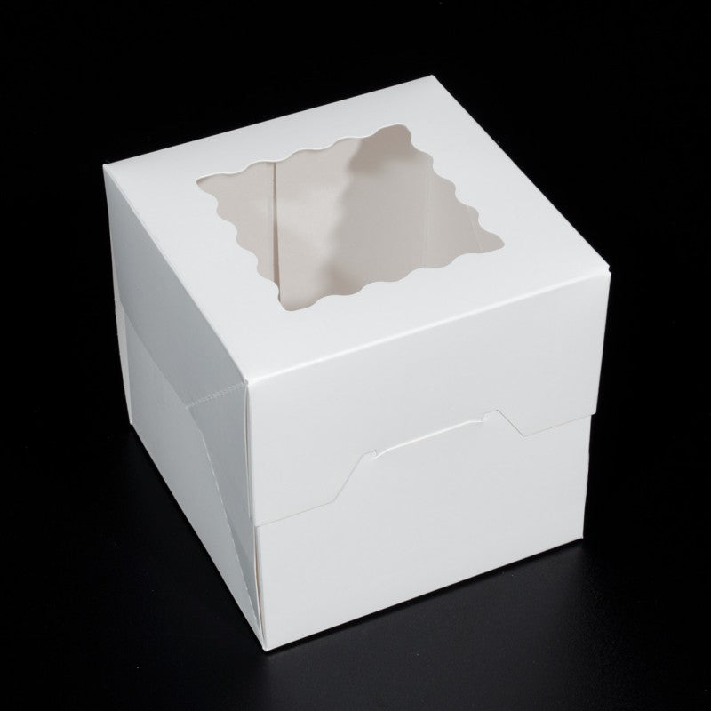 6.125 X 6.125 X 5.875 - Mini Cake Box / Cookie Box - With Window (10 PACK)
