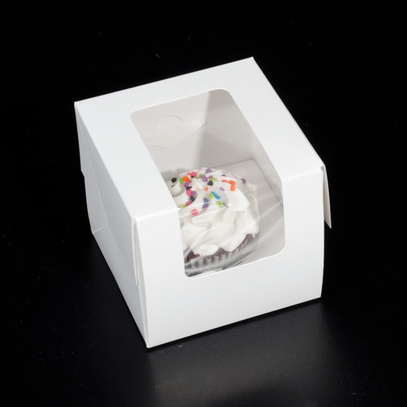 4 X 4 X 4.25 - Single Cupcake / Cookie Box - With Window (10 PACK)