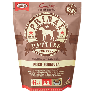 Primal Raw Frozen Canine Pork Patties Formula