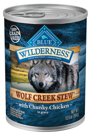 Blue Buffalo Wilderness Wolf Creek Stew Chunky Chicken Stew Canned Dog Food