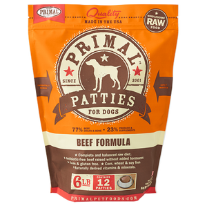 Primal Raw Frozen Canine Beef Patties Formula