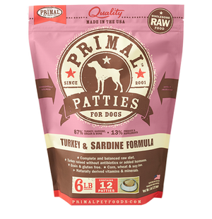 Primal Raw Frozen Canine Turkey & Sardine Patties Formula