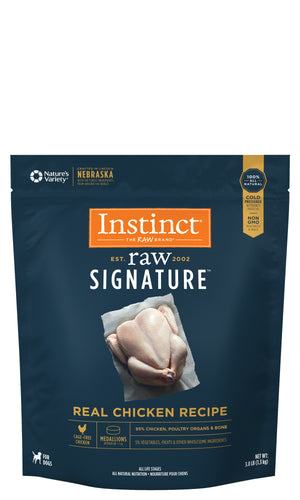 Instinct Canine Raw Signature Frozen Medallions Real Chicken Recipe