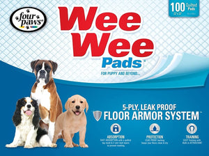 Four Paws Wee-Wee Puppy Dog Housebreaking Pads 100 Pack