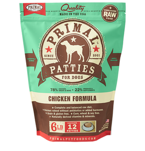 Primal Raw Frozen Canine Chicken Patties Formula