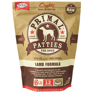 Primal Raw Frozen Canine Lamb Patties Formula