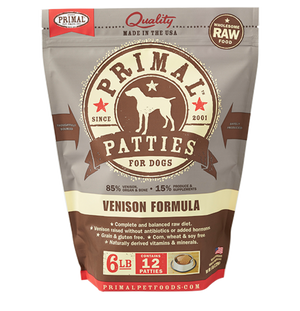 Primal Raw Frozen Canine Venison Patties Formula