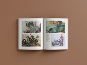 The Britten Stables book is full of original photos of the Britten motorcycle being build in John's home workshop