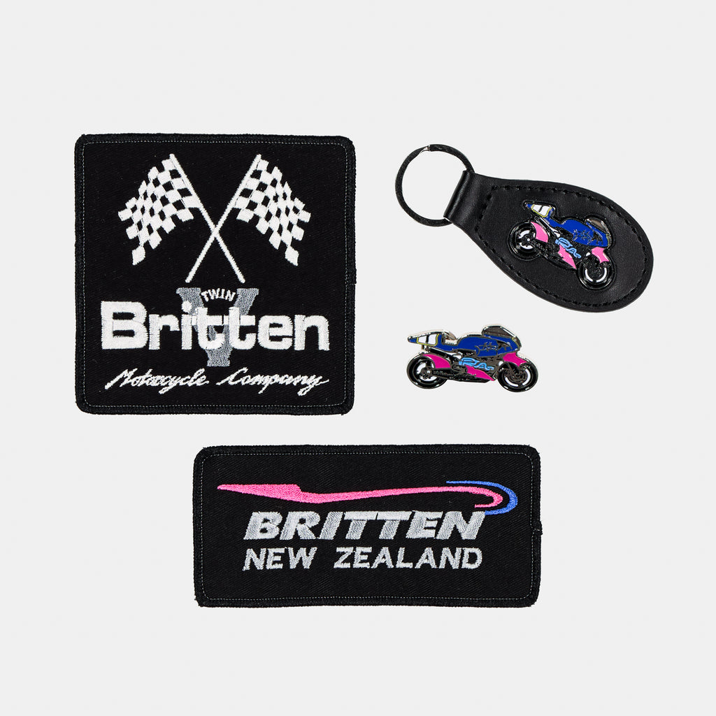 Key Ring, Pin/Badge and 2 Patches Bundle