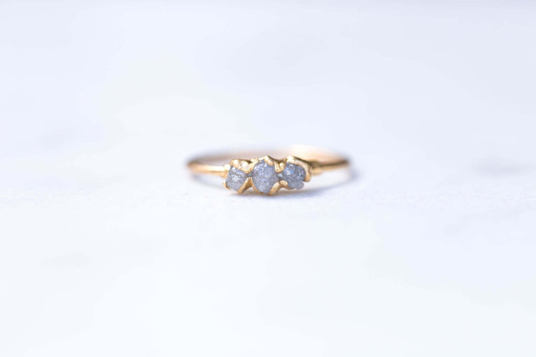 Triple Raw Diamond Ring