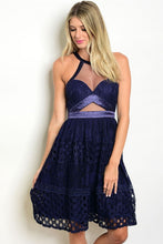 Load image into Gallery viewer, Navy Mesh and Lace Dress