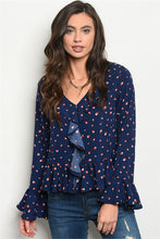 Load image into Gallery viewer, Navy and Polka Dots Top