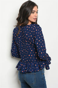 Navy and Polka Dots Top