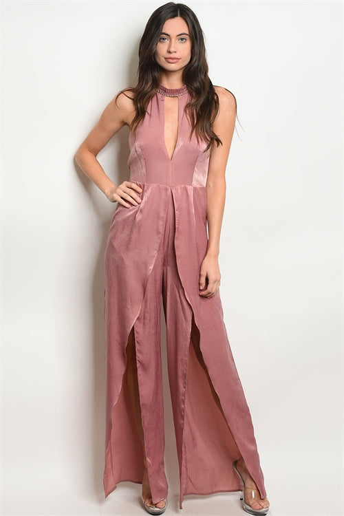 Mauve Satin Jumpsuit