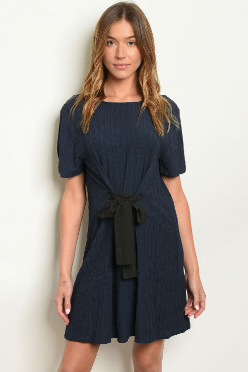 Navy Tied Waist Dress