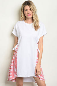 White and Red Stripes Dress